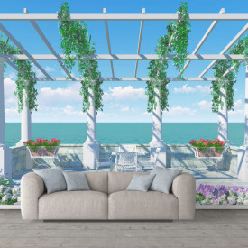 Fototapete 3D, Grădină grecească lângă mare