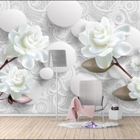 Fototapete 3D, Trandafiri albi și baloane albe.