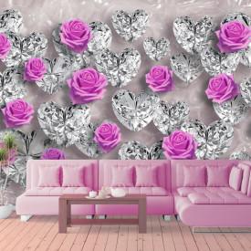 Fototapete 3D, Trandafiri și pietre prețioase