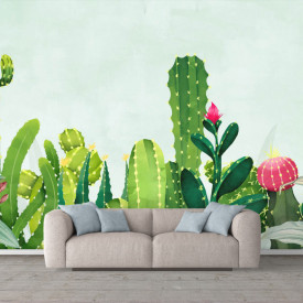 Fototapete, Cactus verde pe un fundal albastru