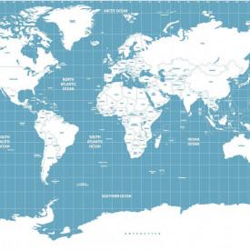 Fototapete, Hartă albastră cu continente albe