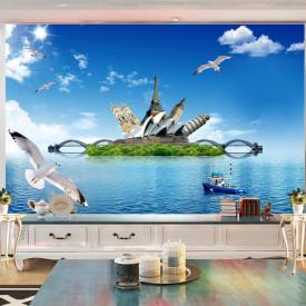 Fototapete, Insula verde în mare și păsări pe cer