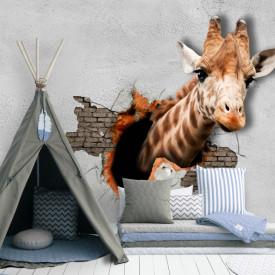 Fototapete Pentru Copii, Girafa pe un perete spart