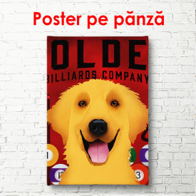 Poster, Câine portocaliu pe fundal roșu
