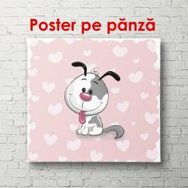 Poster, Câinele pe un fundal roz cu inimi