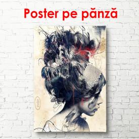 Poster, Fată pe un fundal bej