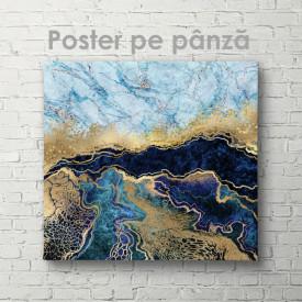 Poster, Marmură albastră cu auriu