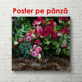 Poster, Orhidee violet cu frunze verzi