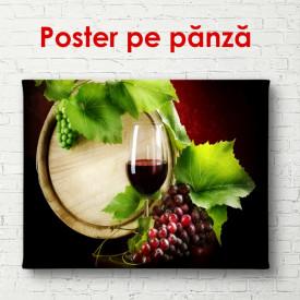 Poster, Pahar cu vin roșu și un butoi