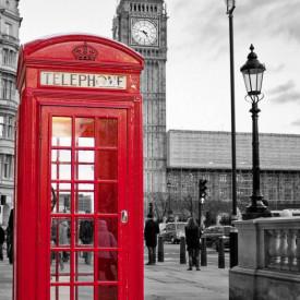 Poster, Peisaj londonez cu o cabină telefonică roșie