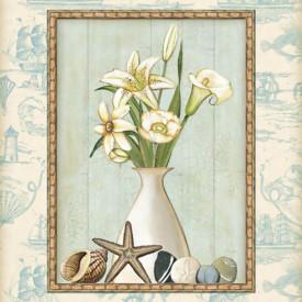 Poster, Vaza albă cu un buchet frumos de flori