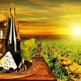 Poster, Vinul cu brânză pe un butoi la apusul soarelui