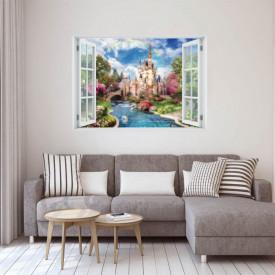 Stickere pentru pereți, Fereastra 3D cu vedere spre un castel înconjurat de lebede