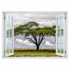 Stickere pentru pereți, Fereastra 3D cu vedere spre un copac în singurătate