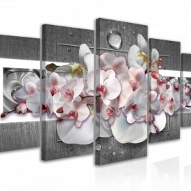Tablou modular, Buchet de orhidee roz pe fond gri