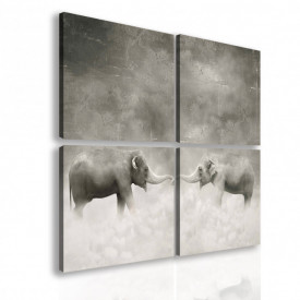 Tablou modular, Elefanți alb-negru.