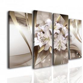 Tablou modular, Floare pe un fundal bej.