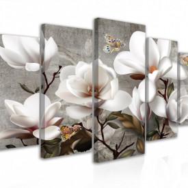 Tablou modular, Flori albe cu fluturași din broșă