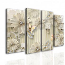 Tablou modular, Flori delicate pe un fundal bej.