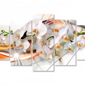 Tablou modular, Orhidee albă și modele portocalii.