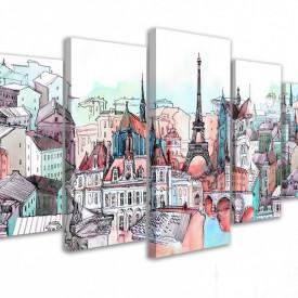 Tablou modular, Parisul în nuanțe calde