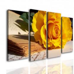 Tablou modular, Trandafirul cu culoarea galbenă pe masă