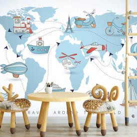 Tapet foto pentru copii, Harta lumii pentru copii cu temă marină