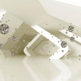 Fototapet 3D, Cristale pe un fundal bej
