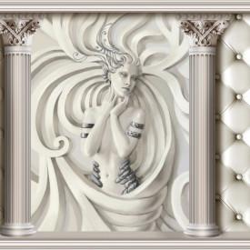 Fototapet 3D, O fată de gips cu coloane pe un fundal alb din piele