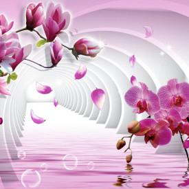 Fototapet 3D, O magnolie roz înflorește pe un fundal 3D