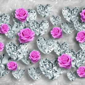Fototapet 3D, Trandafiri și pietre prețioase