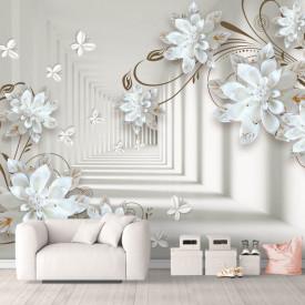 Fototapet 3D, Tunel cu fluturi și flori de porțelan