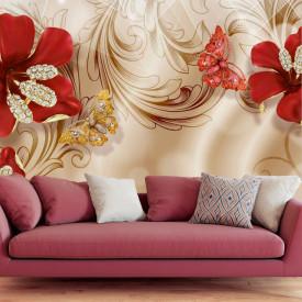 Fototapet, Broșă roșie sub formă de floare pe un fundal de mătase