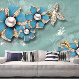 Fototapet, Broșe de culoare turcuaz în formă de flori pe un fundal monocrom delicat