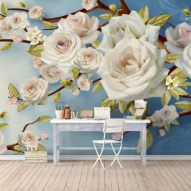 Fototapet Fantezie, Trandafiri albi pe un fond albastru