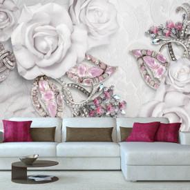 Fototapet Fantezie, Trandafiri albi și pietre prețioase