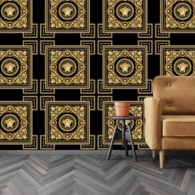 Fototapet Fara Sudura, Ornament auriu Versace cu element de repetare pe fond negru