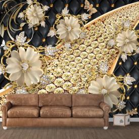 Fototapet, Flori de aur pe un fundal negru și auriu