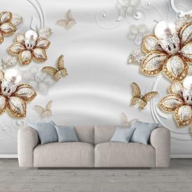 Fototapet, Flori de aur și pietre de argint pe un fundal deschis