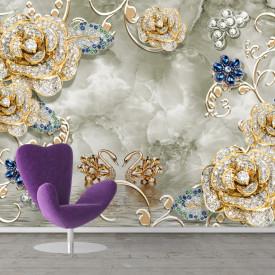Fototapet, Flori de piatră prețioasă și lebede aurii
