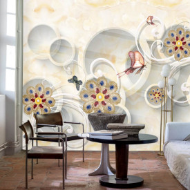 Fototapet, Flori prețioase și cercuri albe pe un fundal bej