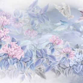 Fototapet, Flori roz cu frunze albastre