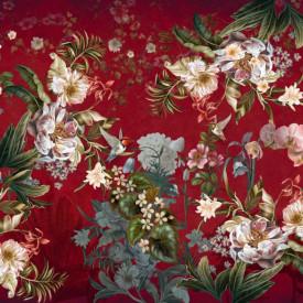 Fototapet, Flori strălucitoare roz pe un fundal roșu
