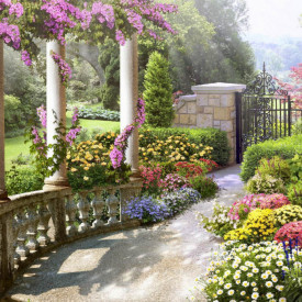 Fototapet Fresco, Grădina de dimineață