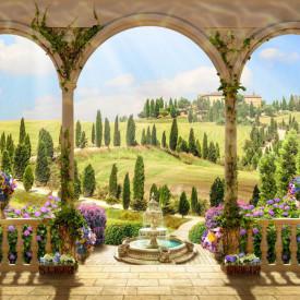 Fototapet Fresco, Priveliștea câmpului de la balconul arcuit