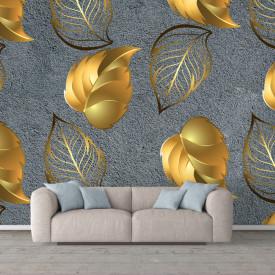 Fototapet, Frunze de aur pe un fundal gri