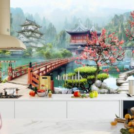 Fototapet, Grădină chinezească frumoasă cu sakura