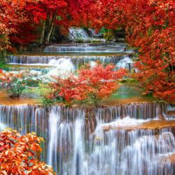Fototapet Natura, Peisaje, Cascadă în padure