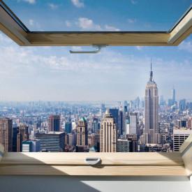 Fototapet, O fereastră cu Priveliște la un oraș frumos