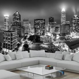 Fototapet Orase, Orașul de noapte alb-negru